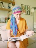 Sjaalmutsje New Delhi Fantasie Framboise Print - chemo hoofddoekje / alopecia sjaal