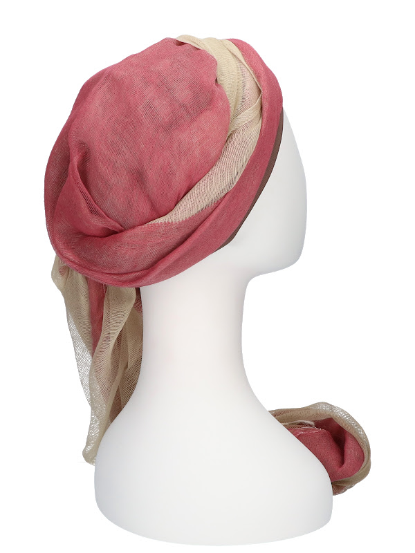 Sjaalmutsje Pink - hoofdbedekking na chemo of alopecia sjaal