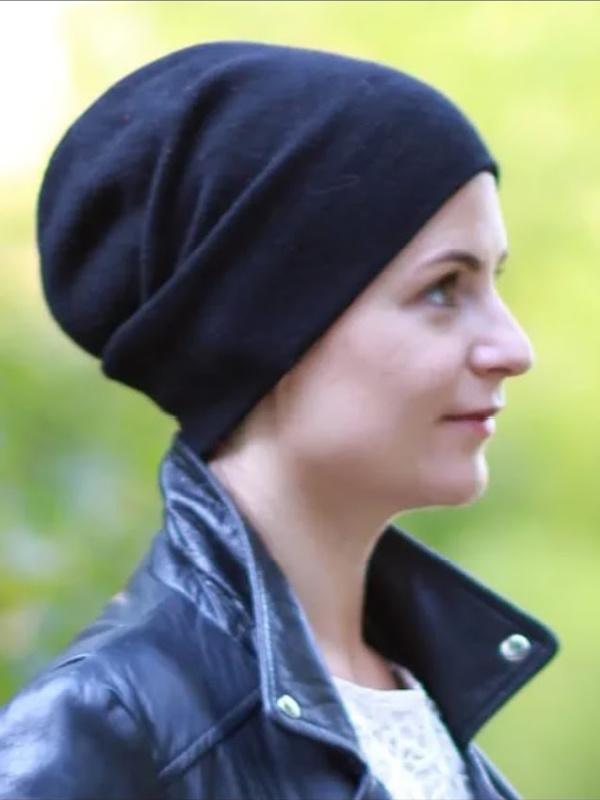 Muts Tili zwart Kashmir - winter chemo muts / alopecia muts