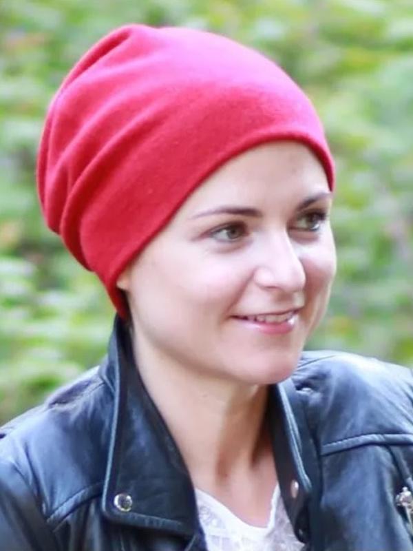 Muts Tili rood Kashmir - winter chemo muts / alopecia muts