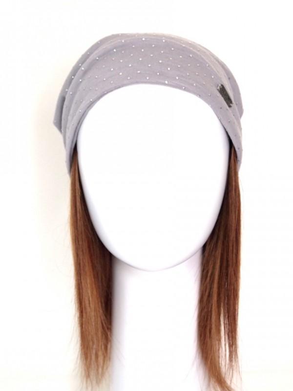 Dorine bruin melee haarwerk - haarband met chemo mutsje
