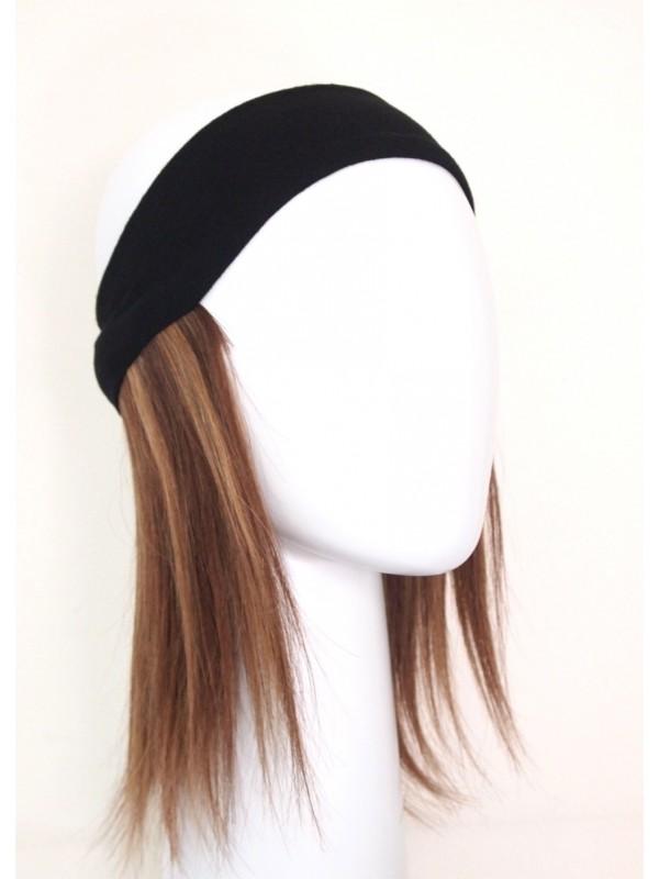 Dorine bruin melee haarwerk - haarband zonder chemo mutsje