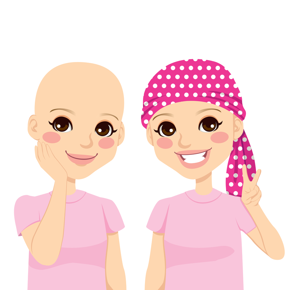 bald head and headscarf